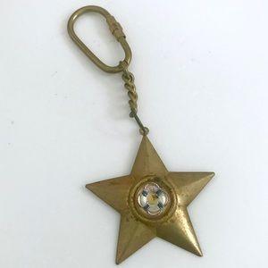 Vintage nautical brass star lifesaver keychain